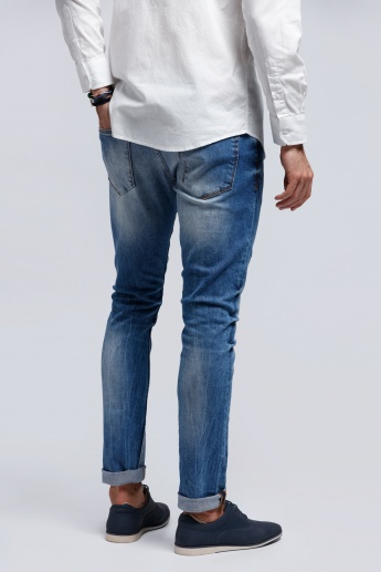 Full Length Denim Pants with Button Closure