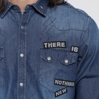 Embroidered Denim Shirt with Long Sleeves and Fringes