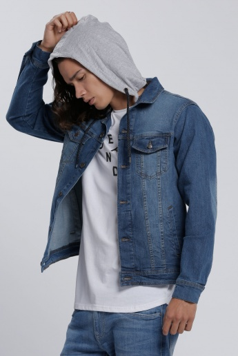 Faded Jacket with Long Sleeves and Hood