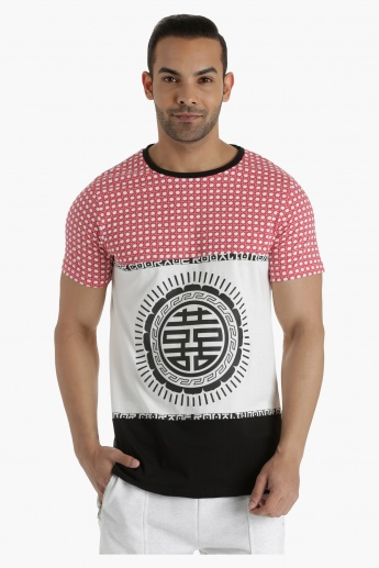 Cotton Printed T-Shirt with Contrast Cut-and-Sew Panels in Regular Fit