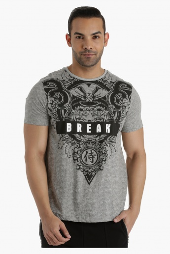 Printed T-Shirt with Crew Neck in Regular Fit
