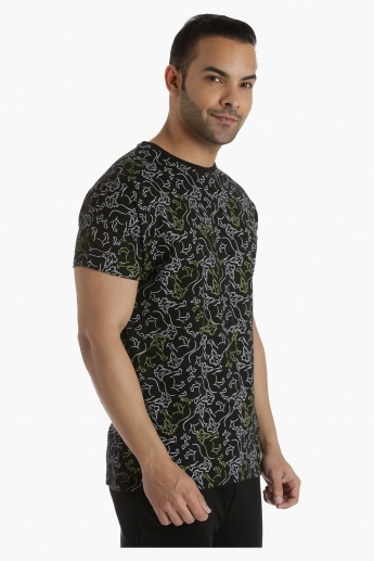 Crew Neck Cotton T-Shirt with All Over Print in Regular Fit