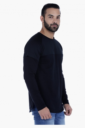 Double Layer Cotton T-Shirt with Long Sleeves