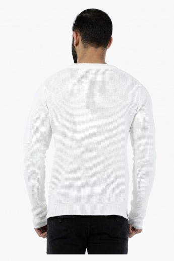 Crew Neck Sweater with Pocket Details