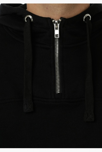 Hooded Sweatshirt with Half Zip at Front and Long Sleeves in Regular Fit