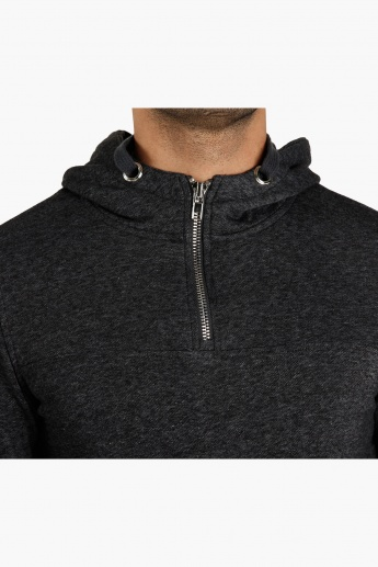 Hooded Long Sleeves Sweatshirt with Zip Detail