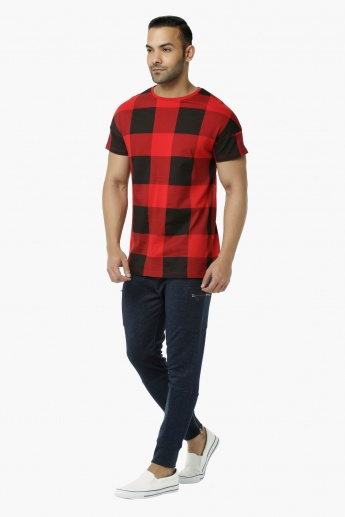 Chequered Crew Neck T-Shirt with Short Sleeves