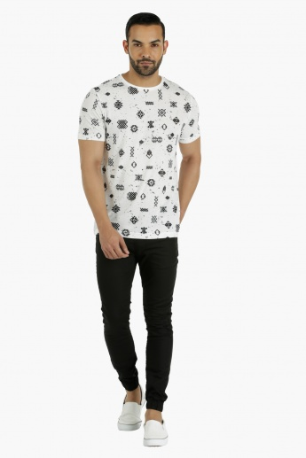 Cotton T-Shirt with Crew Neck and All Over Print in Regular Fit