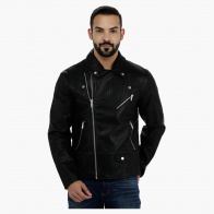Long Sleeves Biker Jacket with Zippered Closure
