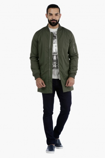 Long Bomber Jacket with Zip Detailing