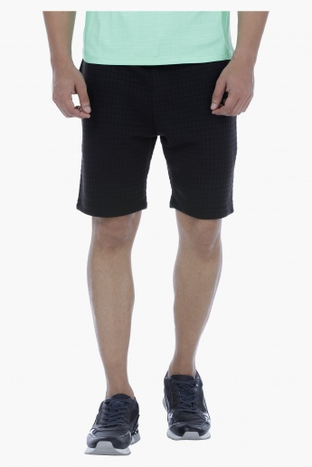 Knitted Textured Shorts with Drawstring