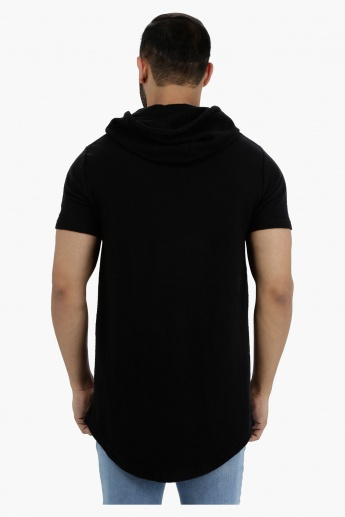 Short Sleeves Longline T-Shirt with Hood