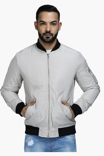 Polyester Jacket with Zip Detail and Long Sleeves in Regular Fit