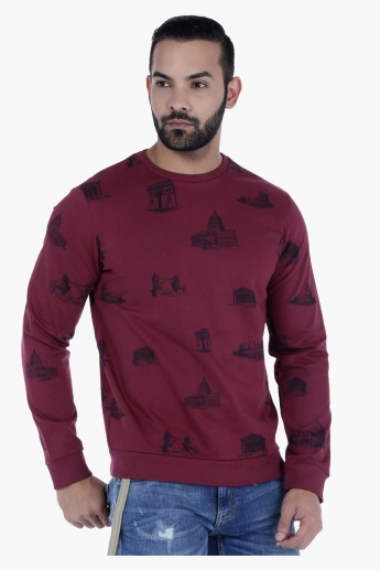 Crew Neck Cotton Sweatshirt with Long Sleeves and All Over Print