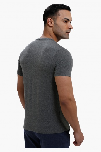 T-Shirt with V-Neck and Short Sleeves in Regular Fit