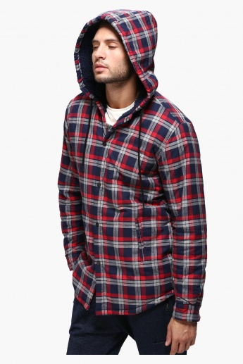 Chequered Sweatshirt with Hood and Long Sleeves