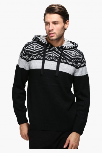 Printed Sweater with Hood and Long Sleeves
