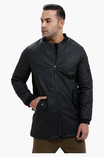 Long Bomber Jacket with Zip Closure