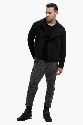 Long Sleeves Textured Biker Jacket with Zip Closure