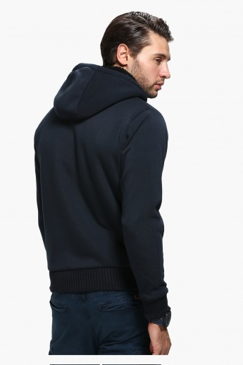 Hooded Sweat Shirt with Zip Detail and Long Sleeves
