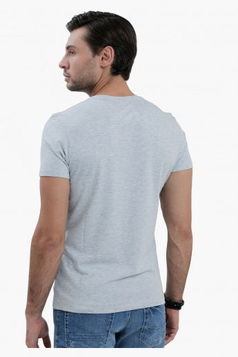 V-Neck T-Shirt with Short Sleeves in Slim Fit
