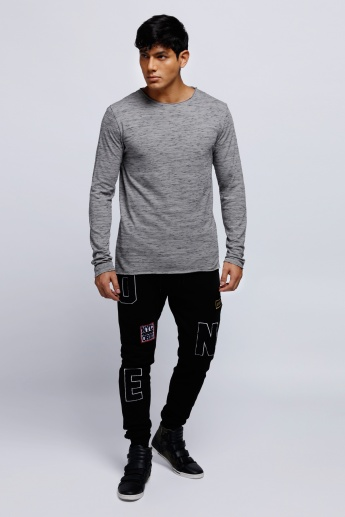 Melange Printed Round Neck T-Shirt with Long Sleeves