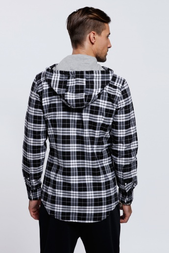 Chequered Long Sleeves Shirt with Hood