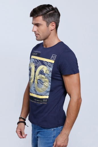 Printed Short Sleeves T-Shirt with Round Neckline