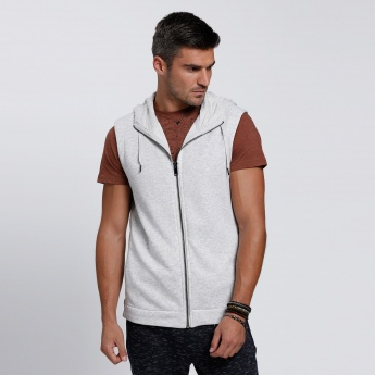 Sleeveless Hooded Jacket with Zippered Closure and High Low Hem