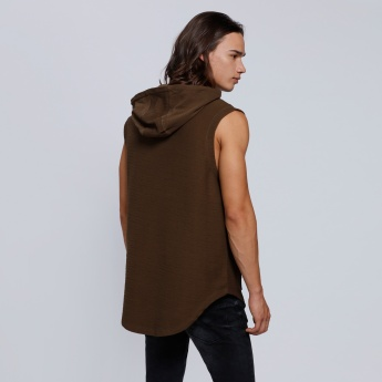 Sleeveless Sweatshirt with Hood and Front Zip Closure