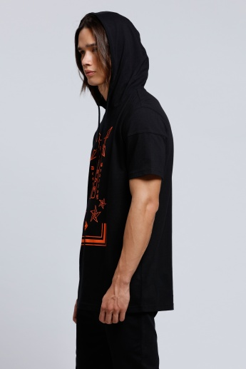 Printed T-Shirt with Hood and Short Sleeves
