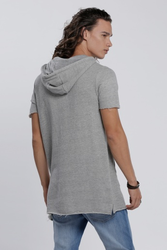 Textured T-Shirt with Short Sleeves and Hood