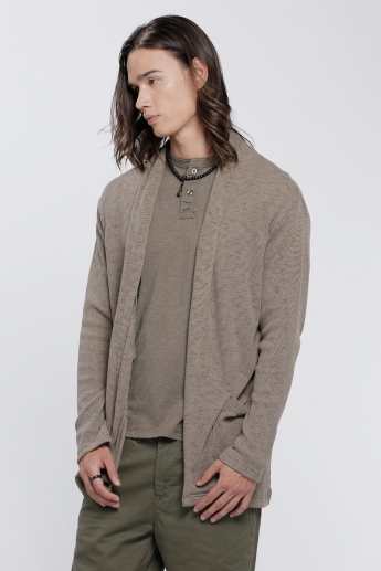 Open Front Jacket with Long Sleeves in Slim Fit