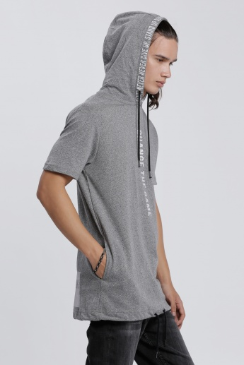 Printed T-Shirt with Short Sleeves and Hood