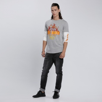 Printed T-Shirt with Round Neck and Doctor Sleeves