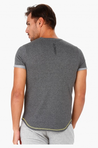 Kappa Round Neck T-Shirt with High-low Hem and Short sleeves