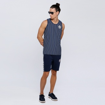 Kappa Striped Sleeveless T-Shirt with Round Neck