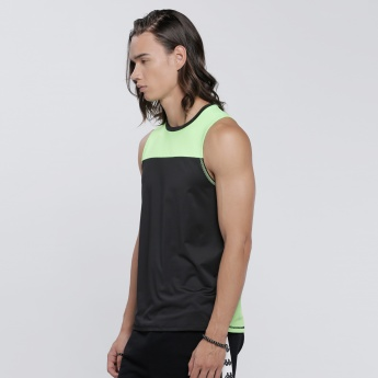 Kappa Printed Sleeveless Vest with Round Neck