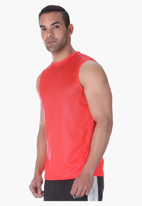 Printed Muscle-fit Sleeveless T-shirt