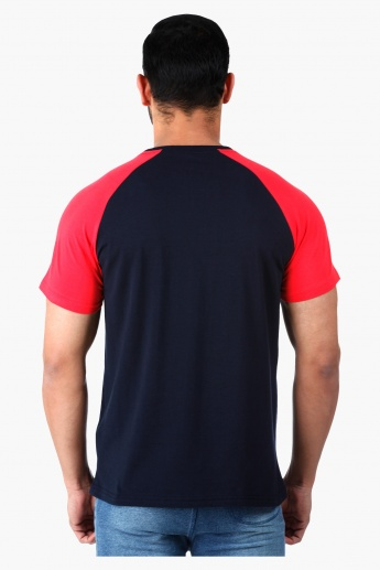 Crew Neck T-Shirt with Contrast Raglan Sleeves