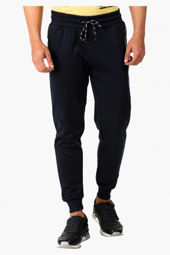 Cuffed Jog Pants with Cut And Sew Detail in Regular Fit