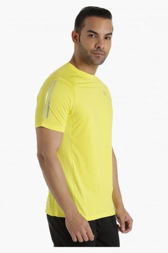 Cut-and-Sew T-Shirt with Mesh Inserts in Regular Fit