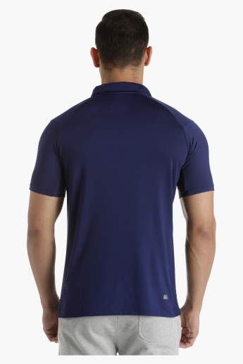 Polo T-Shirt with Raglan Sleeves and Cut-and-Sew Mesh Inserts in Regular Fit