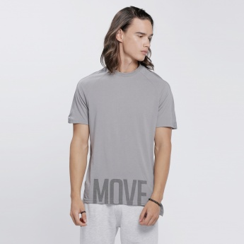 Printed T-Shirt with Short Sleeves and High Low Hem