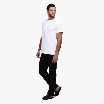 Henley Neck T-Shirt and Pants Set in Slim Fit