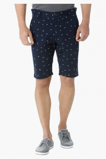 Cotton Twill Embroidered Shorts