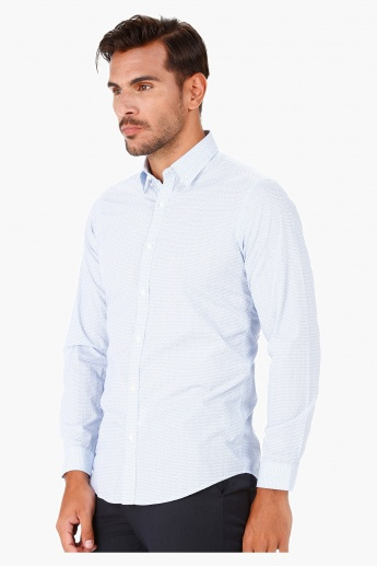 Printed Cotton Shirt with Long Sleeves in Slim Fit