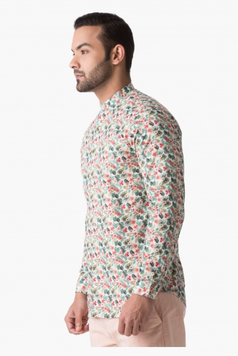 Cotton Shirt with Floral Print in Slim Fit