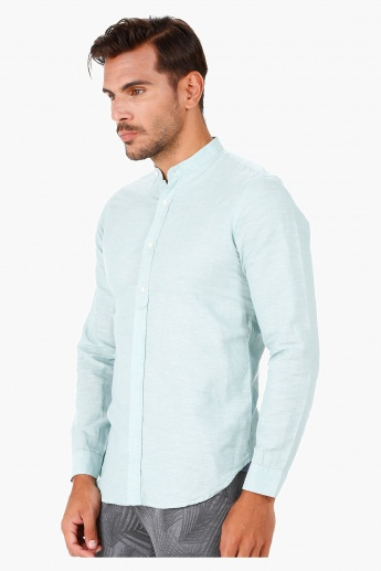 Slim-fit Cotton Shirt with Mandarin Neck and Long Sleeves