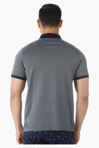 Cotton Polo Neck T-Shirt with Short Sleeves in Slim Fit